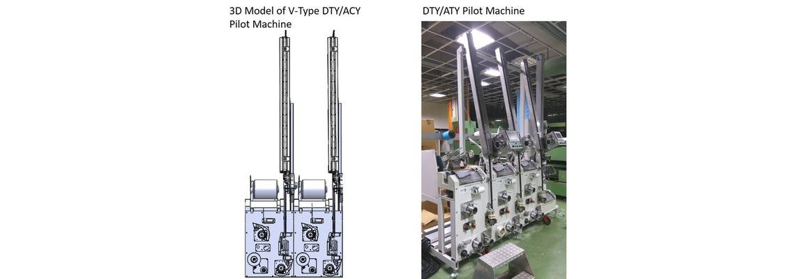 客製化紡織實驗設備-左:3D Model of V-Type DTY/ACY Pilot Machine | 右:DTY/ATY Pilot Machine